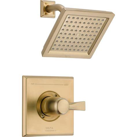 delta dryden 1 handle 1 spray raincan shower faucet trim kit in chagne bronze valve not