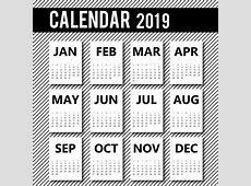 2019 Calendar Design Vector Free Download