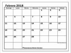 Calendario febrero 2018 Tiberius us calendario