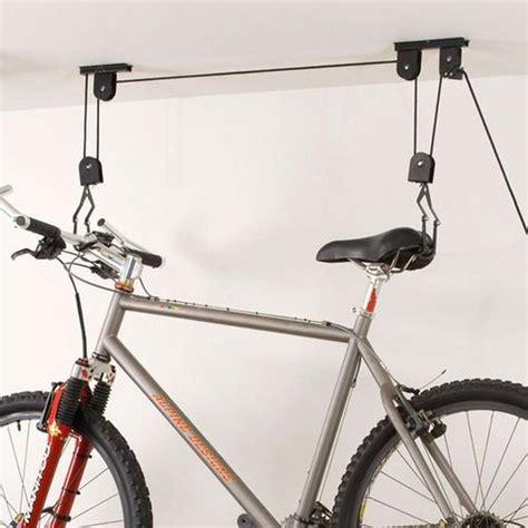 bike bicycle lift ceiling mounted hoist storage hanger pulley rack garage cj581 ebay