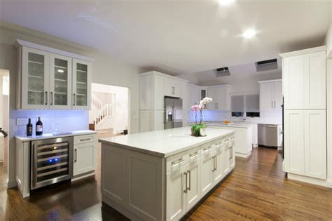 white shaker contemporary kitchen new york by luxcraft cabinets