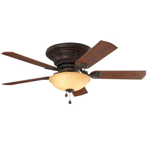 shop harbor lynstead 52 in specialty bronze indoor flush mount ceiling fan with light kit
