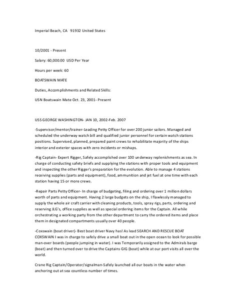 Boatswain Jobs Uk by Old Fashioned Machinist Mate Resume Exles Motif