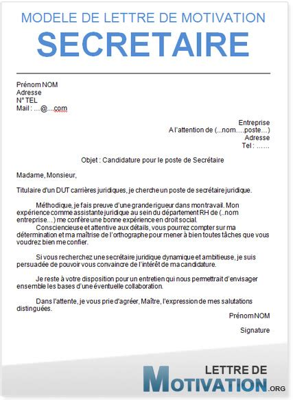exemple lettre de motivation secr 233 taire application cover letter