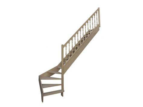 escalier quart tournant bas droit en h 234 tre sans contre marches sans re hauteur 280 cm