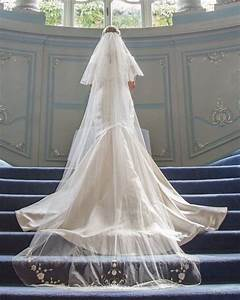 Long 2 tier 100% silk tulle veil with custom embroidery on ...