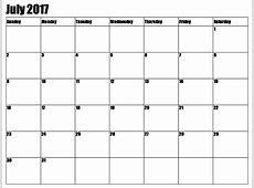 July 2017 Calendar Printable Template