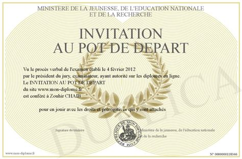 invitation au pot de depart