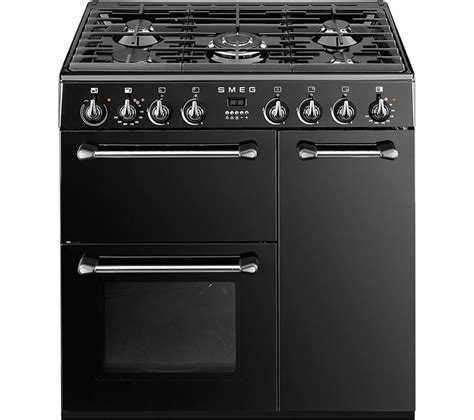 buy smeg bm93bl 90 cm dual fuel range cooker black stainless steel free delivery currys