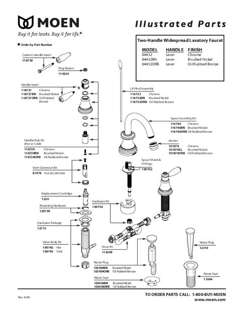 moen faucet parts diagram images