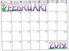 Free February 2019 Editable Calendar Download Moon Phase