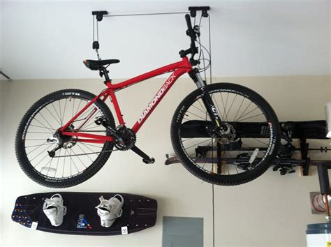 2 bike bicycle lift ceiling mounted hoist storage garage hanger pulley rack new ebay