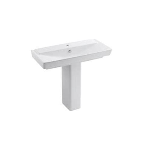 kohler reve 39 in ceramic pedestal bathroom sink combo in white with overflow drain k 5149 1 0