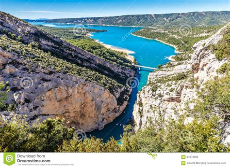 gorges du verdon bridge sainte croix lake stock photo image 64076906