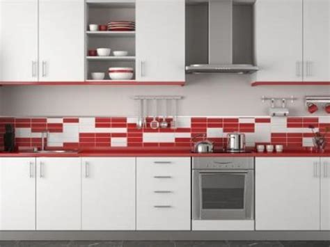 Red And White Kitchen Tiles
