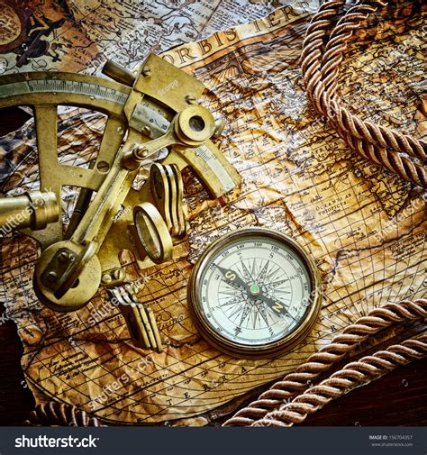 Sextant Value by Vintage Still Life With Compass Sextant And Old Map Stock