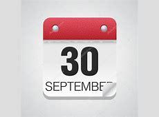 Simple calendar with September 30 — Stock Vector