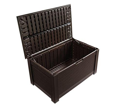 rubbermaid patio chic outdoor storage deck box teak