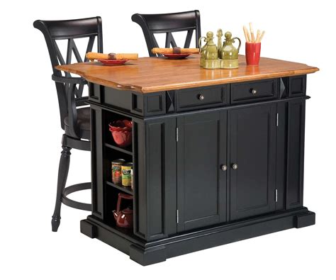 Home Styles Kitchen Island And Two Deluxe Bar Stools Cheap Modern Dining Room Tables Contemporary Design Black Upholstered Chairs Displays Sets With Matching Bar Stools Table Bench Ideas