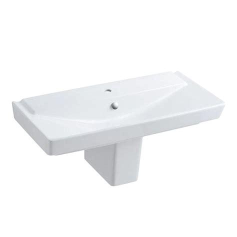 kohler reve semi ceramic pedestal combo bathroom sink in white with overflow drain k 5148 1 0