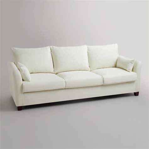 ivory luxe three seat sofa canvas slipcover world market