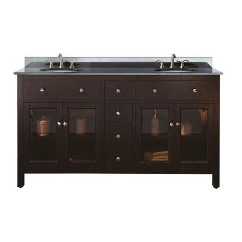 avanity 60 inch w vanity with granite top in black and light espresso sink