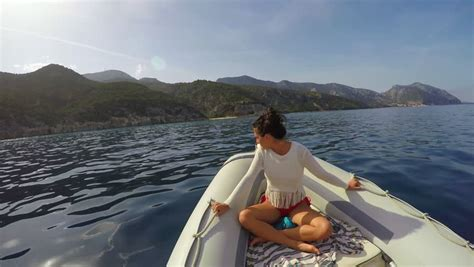 Fast Boat Videos by Beautiful Woman Riding On A Fast Boat Stock Footage Video