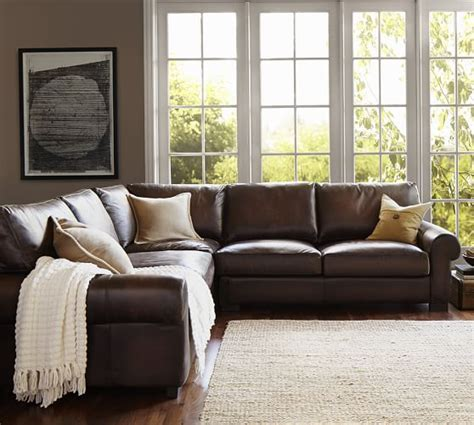 turner roll arm leather 3 l shaped sectional