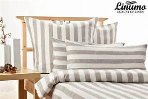 Bettwäsche Grau Weiß Gestreift : 100 leinen bettw sche 2tlg garnitur 135x200 80x80 natur wei gestreift linumo ebay ~ Markanthonyermac.com Haus und Dekorationen