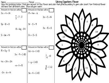 Solving Twostep Equations Coloring Activity By Math Dyal Tpt