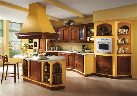 Italian Kitchen  Orange And Yellow Colors In The Interior