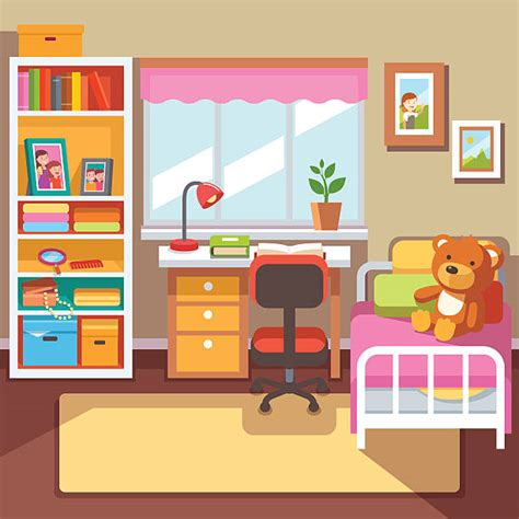 Bedroom clipart childrens bedroom  Pencil and in color