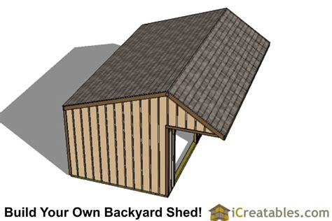 12x24 run in shed plans with cantilever