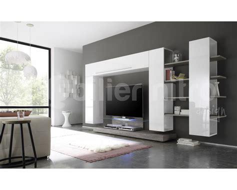 meuble tv mural blanc et gris design angelo en bois mdf de