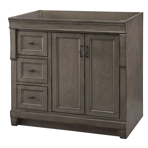 home decorators collection naples 36 in w bath vanity cabinet only in distressed grey with left