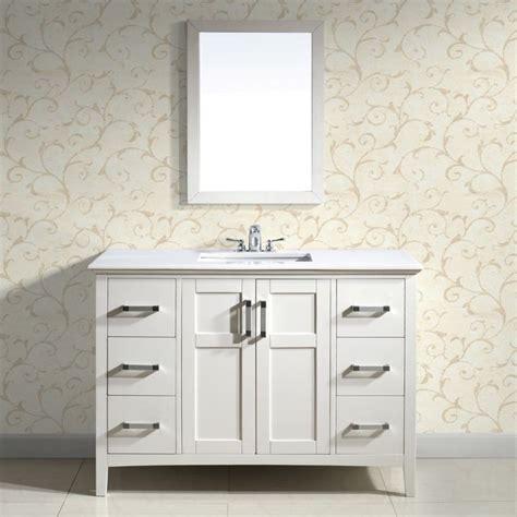 salem white 48 inch bath vanity with 2 doors and white quartz marble top