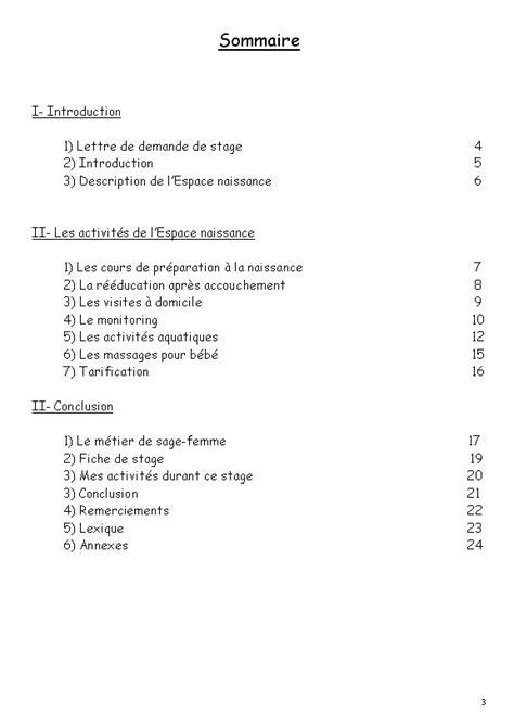 exemple rapport de stage 3eme sommaire document