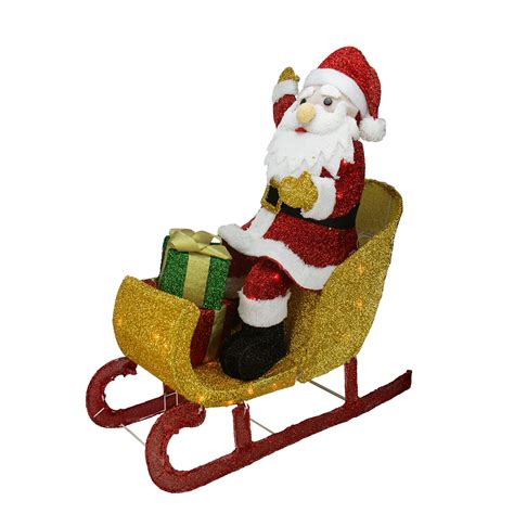 Santa Sleigh Outdoor Decoration by 29 5 Quot Lighted Tinsel Santa Claus In Sleigh Christmas Yard