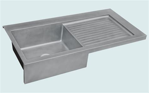 made zinc sink with apron ribbed drainboard by