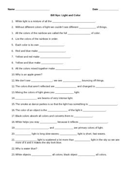 Video Worksheet (movie Guide) For Bill Nye  Light And Color  Student, Bill Nye And Videos