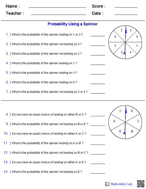 Probability Worksheets  Dynamically Created Probability Worksheets