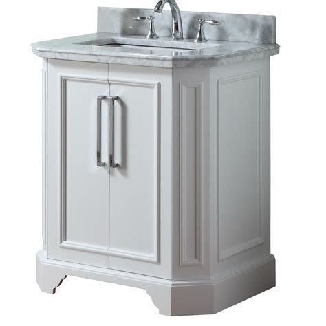 shop allen roth delancy white undermount single sink bathroom vanity with marble top
