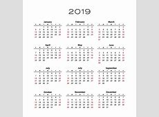 Download Annual Calendar 2019 PDF Printable Template