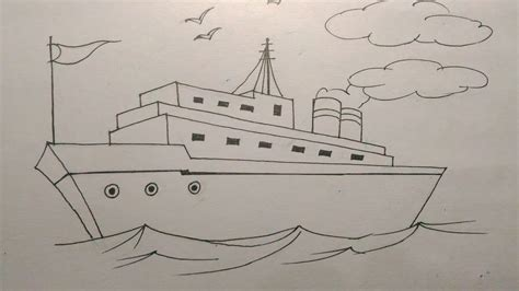 How To Draw A Old Boat by How To Draw A Ship Step By Step Tutorial For Kids Youtube