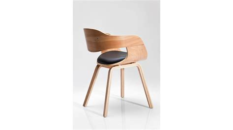 achetez votre chaise design simili cuir noir et bois clair costa beech kare design pas cher sur