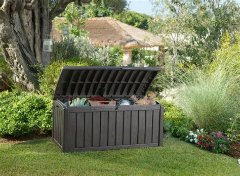 keter glenwood outdoor plastic storage box garden furniture 128 x 65 x 61 cm brown