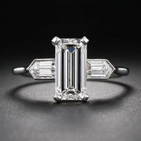 2 05 carat g vs2 emerald cut deco engagement ring