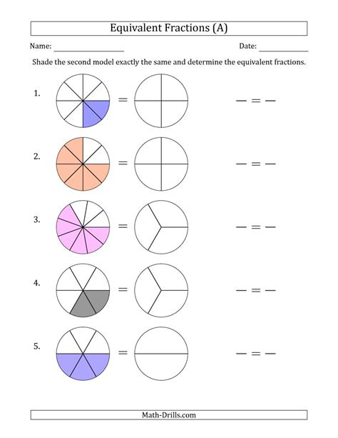 Equivalent Fractions Models With The Simplified Fraction Second (a