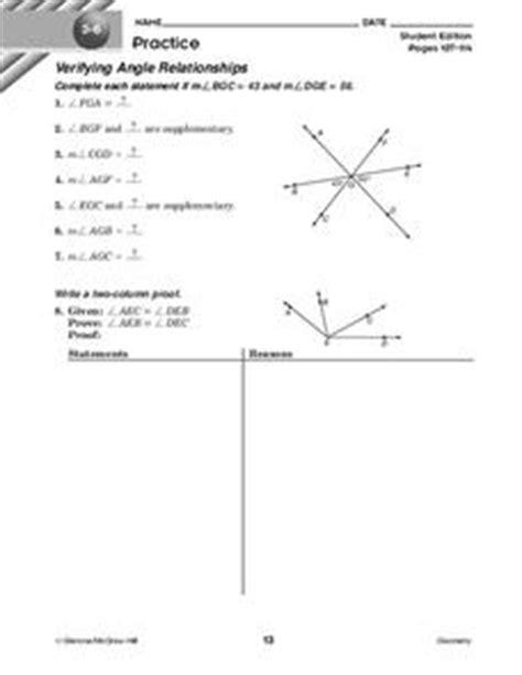 Verifying Angle Relationships Worksheet For 10th Grade  Lesson Planet