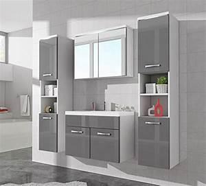 Badezimmer Unterschrank Hochglanz : badezimmer badm bel paso xl led 80 cm waschbecken hochglanz grau fronten unterschrank 2x ~ Markanthonyermac.com Haus und Dekorationen